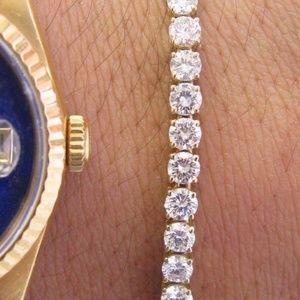 Jewelry - 18Kt Round Cut Diamond Yellow Gold Tennis Bracelet